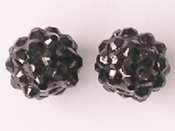 10 Shamballa beads 12mm Black Resin Rhinestone Beads